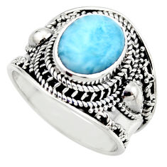 4.82cts natural blue larimar 925 sterling silver solitaire ring size 8.5 r52236