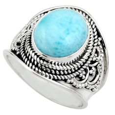 5.18cts natural blue larimar 925 sterling silver solitaire ring size 7.5 r52237