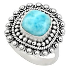 4.55cts natural blue larimar 925 sterling silver solitaire ring size 7.5 r52406