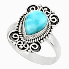 3.22cts natural blue larimar 925 sterling silver solitaire ring size 7.5 r52412