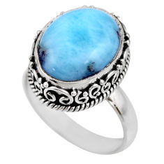 8.14cts natural blue larimar 925 sterling silver solitaire ring size 7.5 r53798