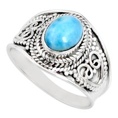 2.14cts natural blue larimar 925 sterling silver solitaire ring size 7.5 r69042