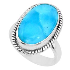 8.83cts natural blue larimar 925 sterling silver solitaire ring size 6.5 r72649