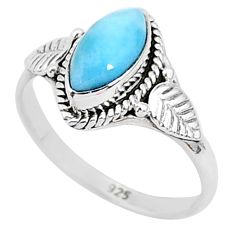 2.60cts natural blue larimar 925 sterling silver solitaire ring size 7.5 r93807