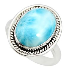 10.04cts natural blue larimar 925 sterling silver solitaire ring size 11 r26207
