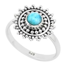 0.85cts natural blue larimar 925 sterling silver solitaire ring size 5 r93803