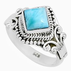 1.30cts natural blue larimar 925 sterling silver solitaire ring size 5 r93825