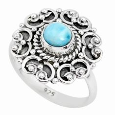 0.76cts natural blue larimar 925 sterling silver solitaire ring size 5 r93851