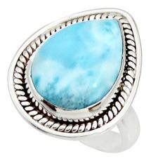 10.01cts natural blue larimar 925 sterling silver solitaire ring size 6 r26206
