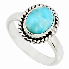 3.31cts natural blue larimar 925 sterling silver solitaire ring size 6 r26375