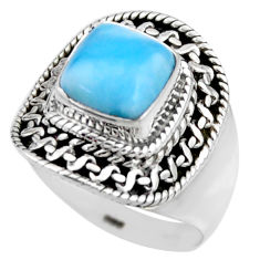 3.01cts natural blue larimar 925 sterling silver solitaire ring size 6 r53567