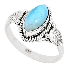 2.42cts natural blue larimar 925 sterling silver solitaire ring size 6 r93822