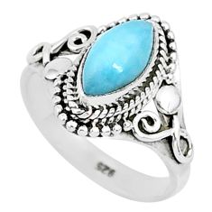 2.58cts natural blue larimar 925 sterling silver solitaire ring size 6 r93826