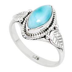 2.38cts natural blue larimar 925 sterling silver solitaire ring size 6 r93837