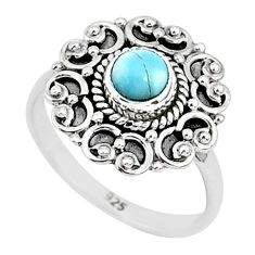0.72cts natural blue larimar 925 sterling silver solitaire ring size 6 r93841