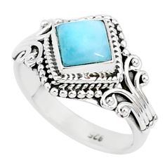 1.48cts natural blue larimar 925 sterling silver solitaire ring size 6 r93843