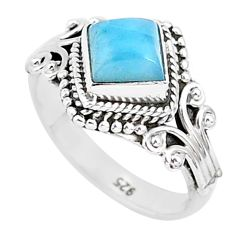 1.45cts natural blue larimar 925 sterling silver solitaire ring size 6 r93856