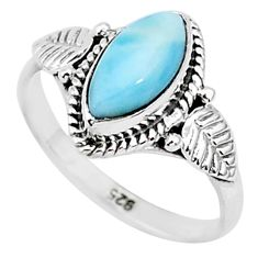 2.42cts natural blue larimar 925 sterling silver solitaire ring size 6 r93868