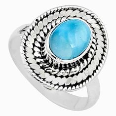 2.02cts natural blue larimar 925 sterling silver solitaire ring size 6 t15914