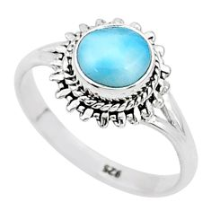 2.14cts natural blue larimar 925 sterling silver solitaire ring size 6 t4954