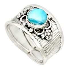 5.24cts natural blue larimar 925 sterling silver solitaire ring size 7 r34654