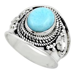 4.38cts natural blue larimar 925 sterling silver solitaire ring size 7 r52202