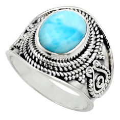 4.52cts natural blue larimar 925 sterling silver solitaire ring size 7 r52203