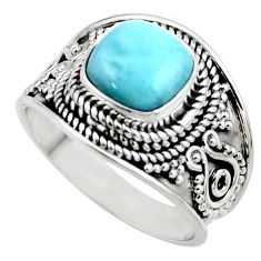 3.02cts natural blue larimar 925 sterling silver solitaire ring size 7 r52206
