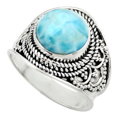 5.95cts natural blue larimar 925 sterling silver solitaire ring size 7 r52207