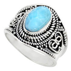 3.01cts natural blue larimar 925 sterling silver solitaire ring size 7 r52210