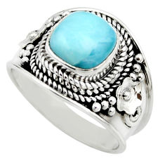 3.02cts natural blue larimar 925 sterling silver solitaire ring size 7 r52215