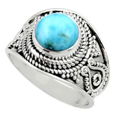3.01cts natural blue larimar 925 sterling silver solitaire ring size 7 r52216