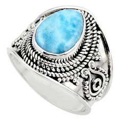 4.71cts natural blue larimar 925 sterling silver solitaire ring size 7 r52223