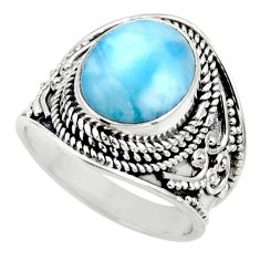 5.30cts natural blue larimar 925 sterling silver solitaire ring size 7 r52227