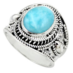 5.25cts natural blue larimar 925 sterling silver solitaire ring size 7 r52232