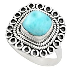 3.19cts natural blue larimar 925 sterling silver solitaire ring size 7 r52405