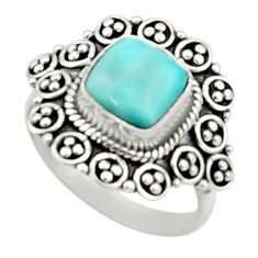 3.35cts natural blue larimar 925 sterling silver solitaire ring size 7 r52418