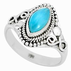 2.35cts natural blue larimar 925 sterling silver solitaire ring size 7 r93804