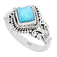1.29cts natural blue larimar 925 sterling silver solitaire ring size 7 r93809