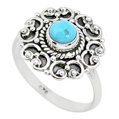 0.76cts natural blue larimar 925 sterling silver solitaire ring size 7 r93816