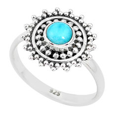 0.72cts natural blue larimar 925 sterling silver solitaire ring size 7 r93818