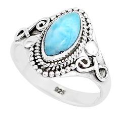 2.43cts natural blue larimar 925 sterling silver solitaire ring size 7 r93823