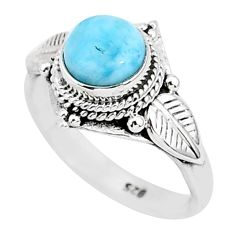 2.42cts natural blue larimar 925 sterling silver solitaire ring size 7 r93828