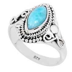 2.72cts natural blue larimar 925 sterling silver solitaire ring size 7 r93838