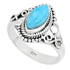 2.53cts natural blue larimar 925 sterling silver solitaire ring size 7 r93853