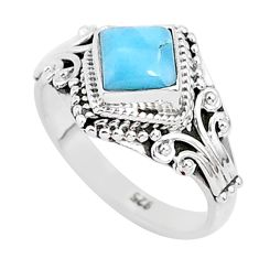1.30cts natural blue larimar 925 sterling silver solitaire ring size 7 r93855