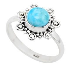 2.72cts natural blue larimar 925 sterling silver solitaire ring size 7 t4960