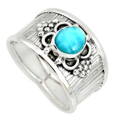 1.49cts natural blue larimar 925 sterling silver solitaire ring size 8 r34652