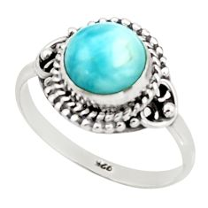 2.86cts natural blue larimar 925 sterling silver solitaire ring size 8 r41406