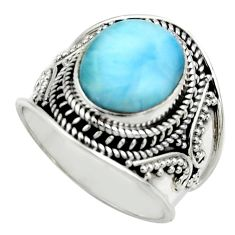 5.01cts natural blue larimar 925 sterling silver solitaire ring size 8 r52194